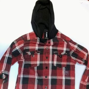 billabong red plaid button up hoodie size Medium